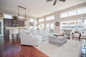 The interior design of a living room.